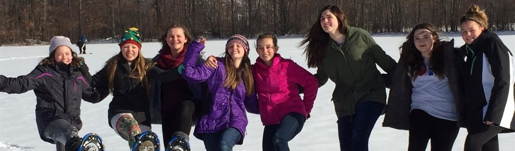 Middle School students snow shoeing!